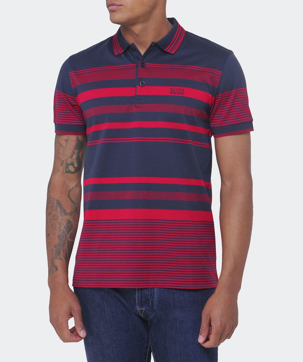 da011a0ef BOSS Green Paddy 1 Striped Polo Shirt in Blue for Men - Lyst