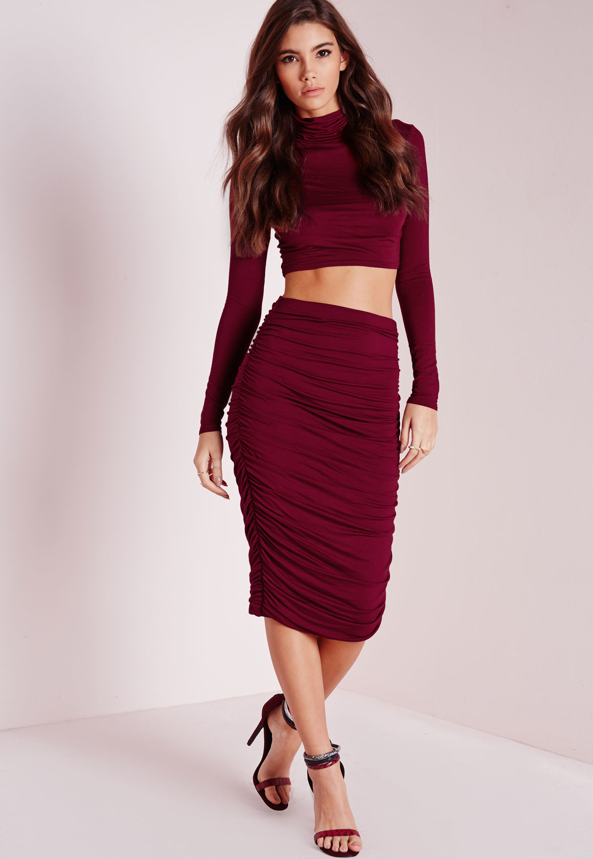 missguided ruched seam midi skirt burgundy in purple lyst