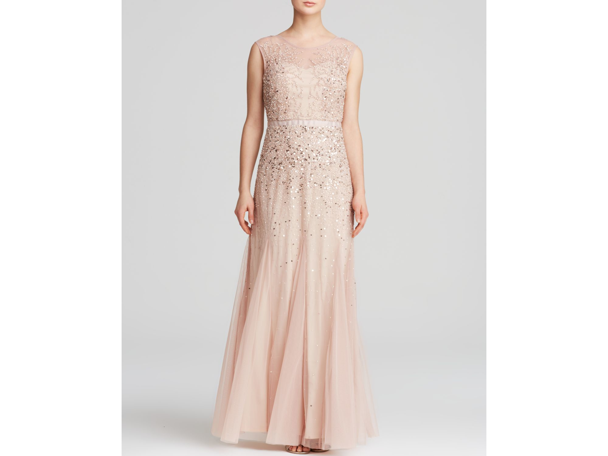 e3d5f09e3d82 Adrianna Papell Gown - Illusion Beaded in Pink - Lyst