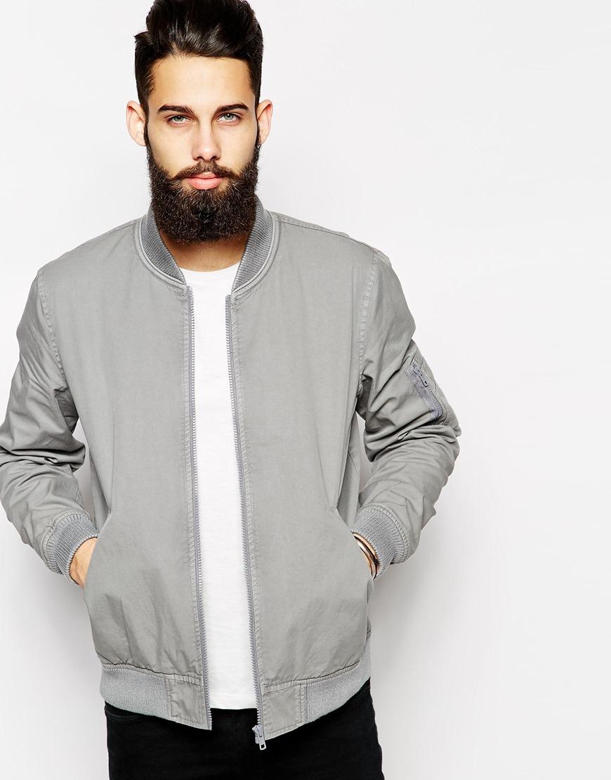 Lyst Asos Bomber Jacket In Gray For Men