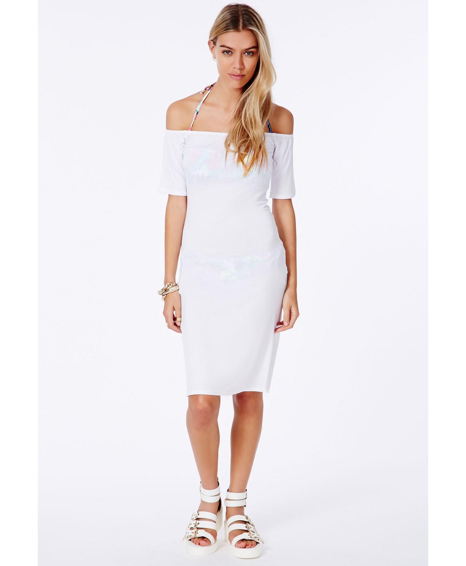 6230c11dfd10a Lyst - Missguided Dreya White Bardot Beach Cover-Up Midi Dress in White