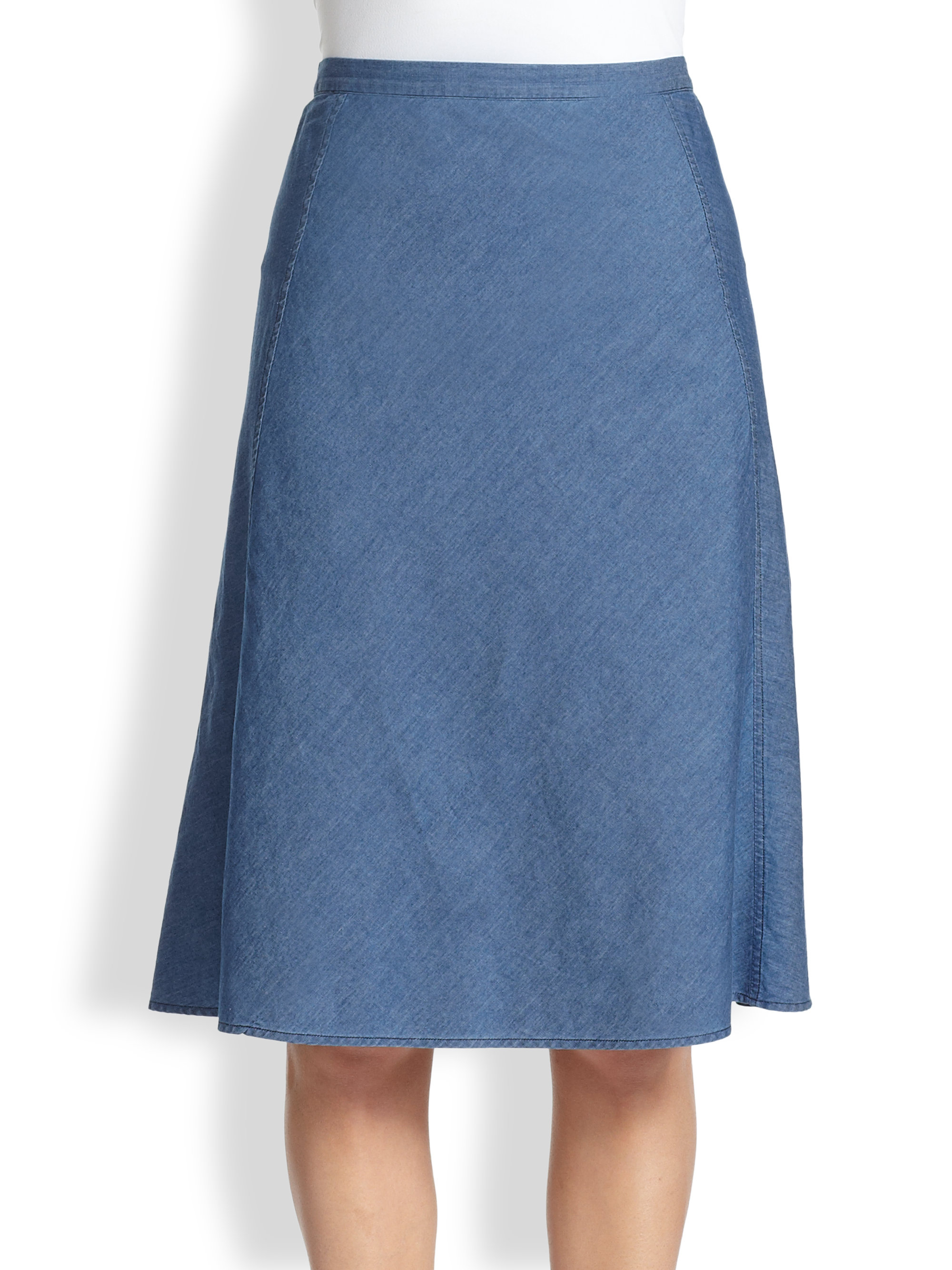 Theory Lonai Aline Denim Skirt in Blue | Lyst