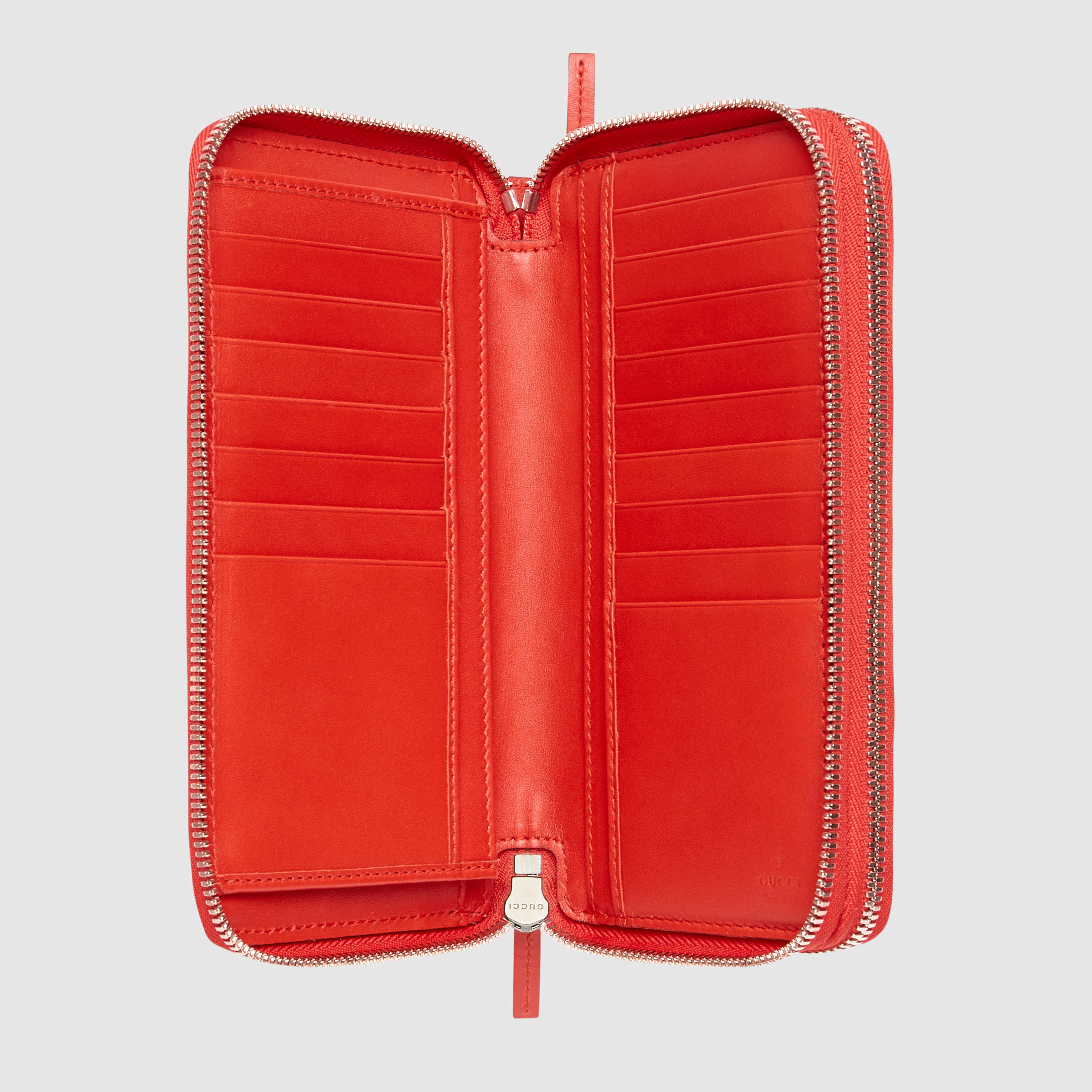 8ed86017e36a Gucci Signature Zip Around Wallet in Red - Lyst