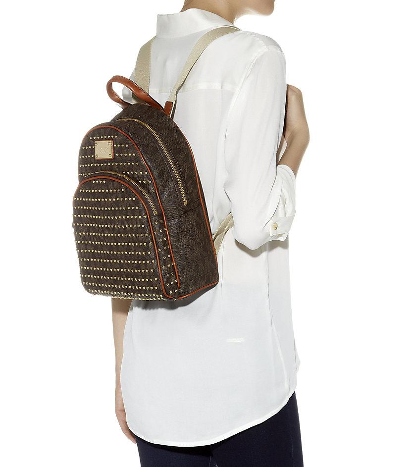 06d5075a60ac sweden michael kors rhea medium leather backpack black d3797 71f4e  czech michael  michael kors small jet set studded backpack in brown lyst ab1c7 0f97c