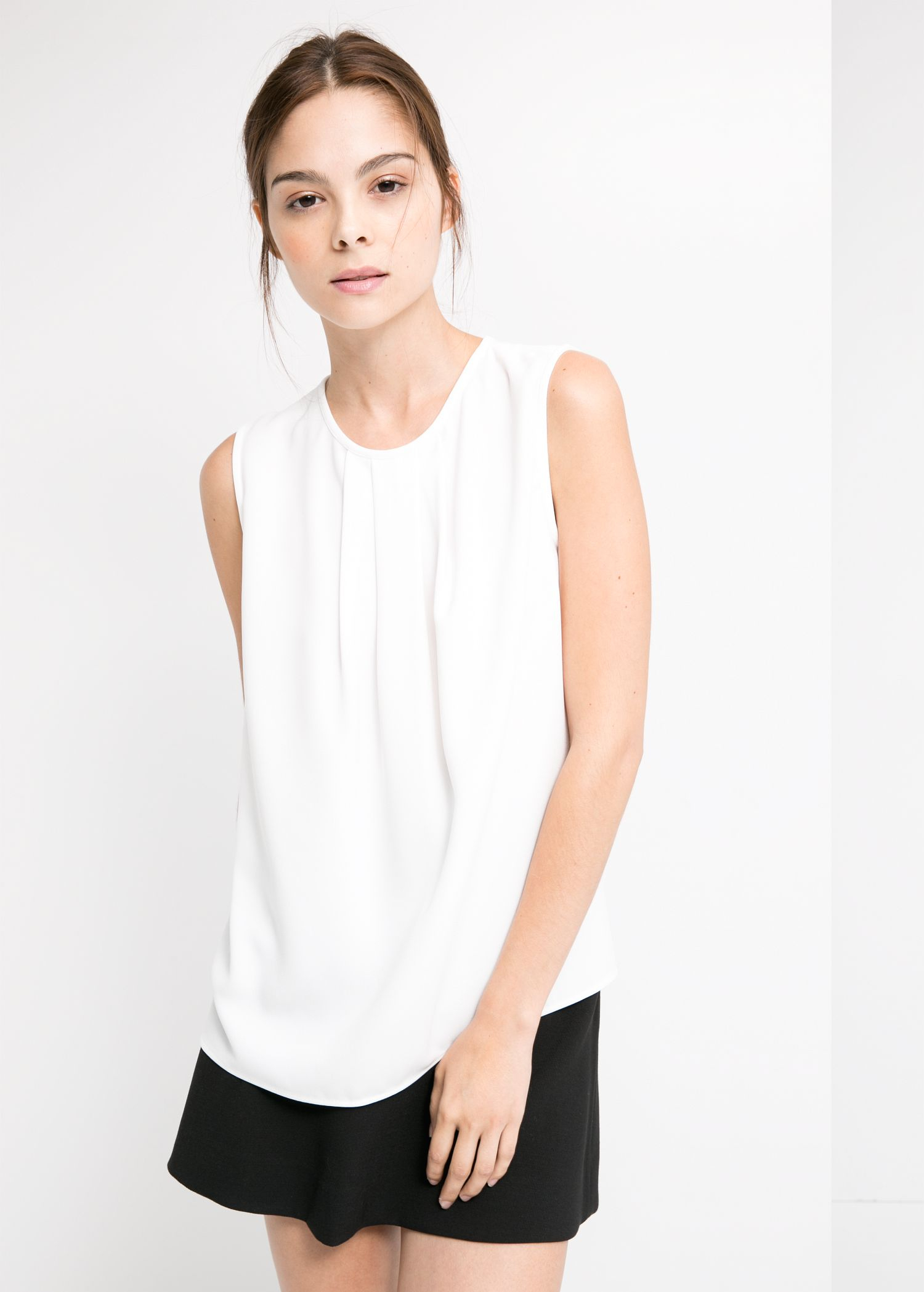 Top Women S Fashion Magazines: Mango Pleat Crepe Top In White