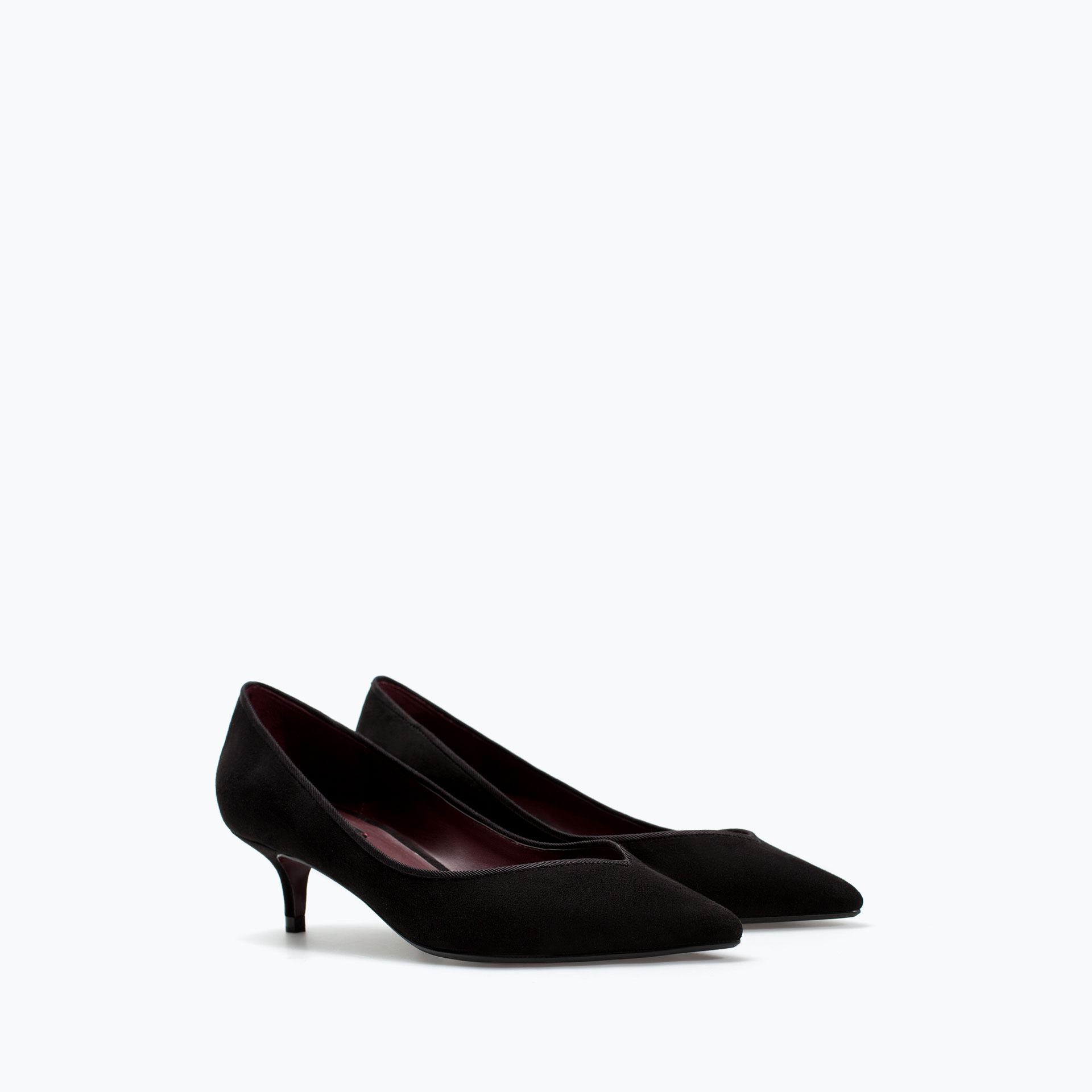 Zara Kitten Heel Court Shoe in Black | Lyst