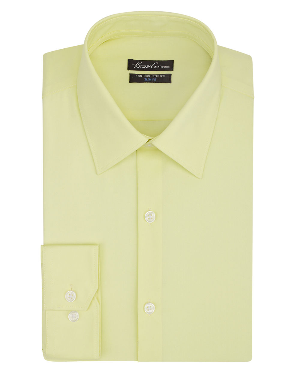kenneth cole slim fit dress shirt in yellow for men lyst