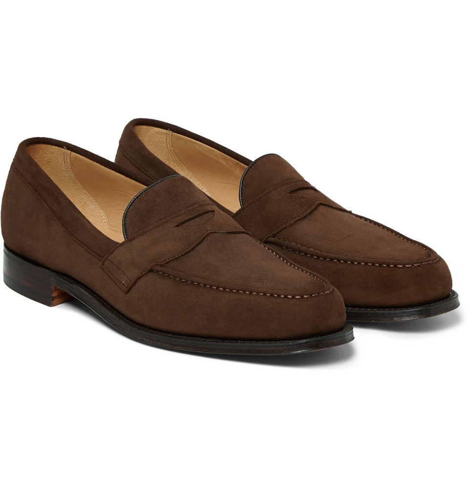 Cheaney Hudson Suede Penny Loafers in Brown for Men | Lyst