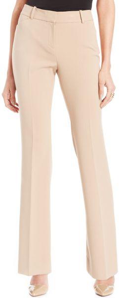Anne Klein Petite Modern Straightleg Pants In Beige Camel