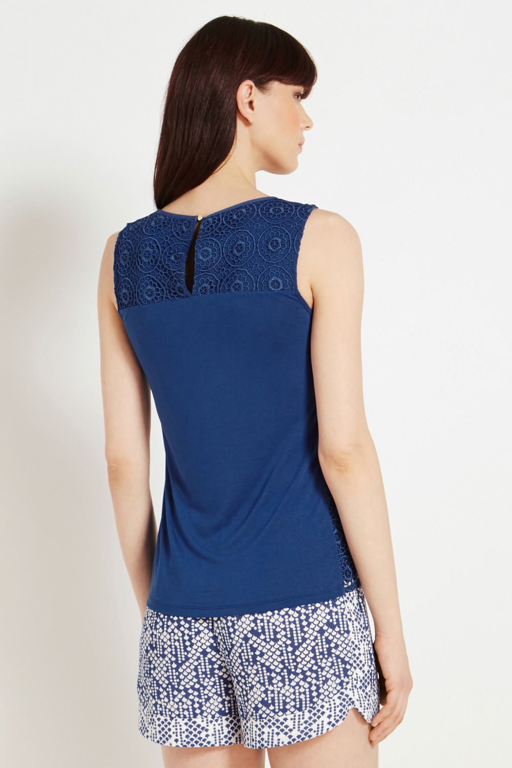 Lyst Oasis Geo Spot Lace Shell Top In Blue