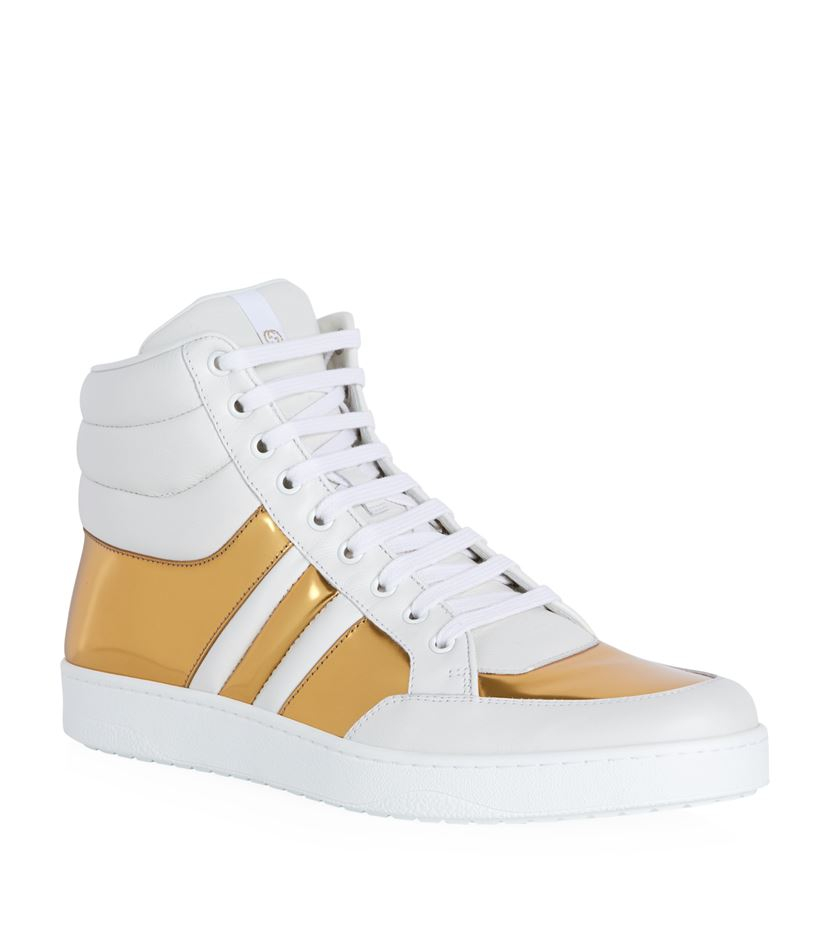 gucci ronnie metallic high top sneaker in white for men lyst. Black Bedroom Furniture Sets. Home Design Ideas