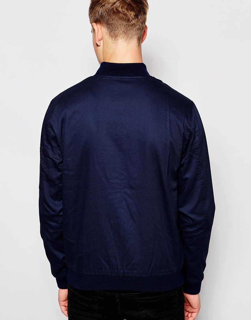 Lyst Jack Amp Jones Bomber Jacket In Blue For Men
