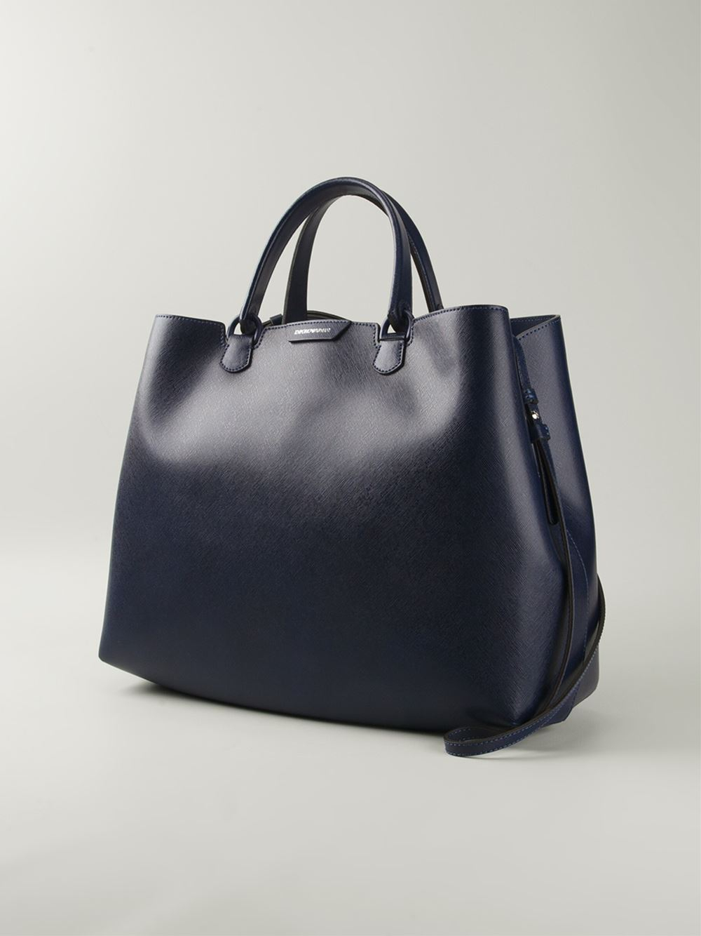 Emporio armani Large Structured Tote in Blue for Men | Lyst