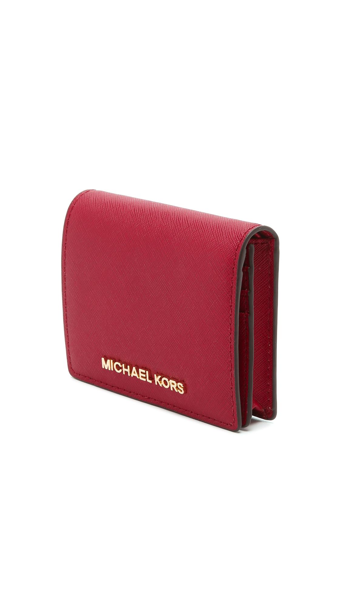 b63e18e9b699 MICHAEL Michael Kors Jet Set Bifold Wallet - Cherry in Red - Lyst