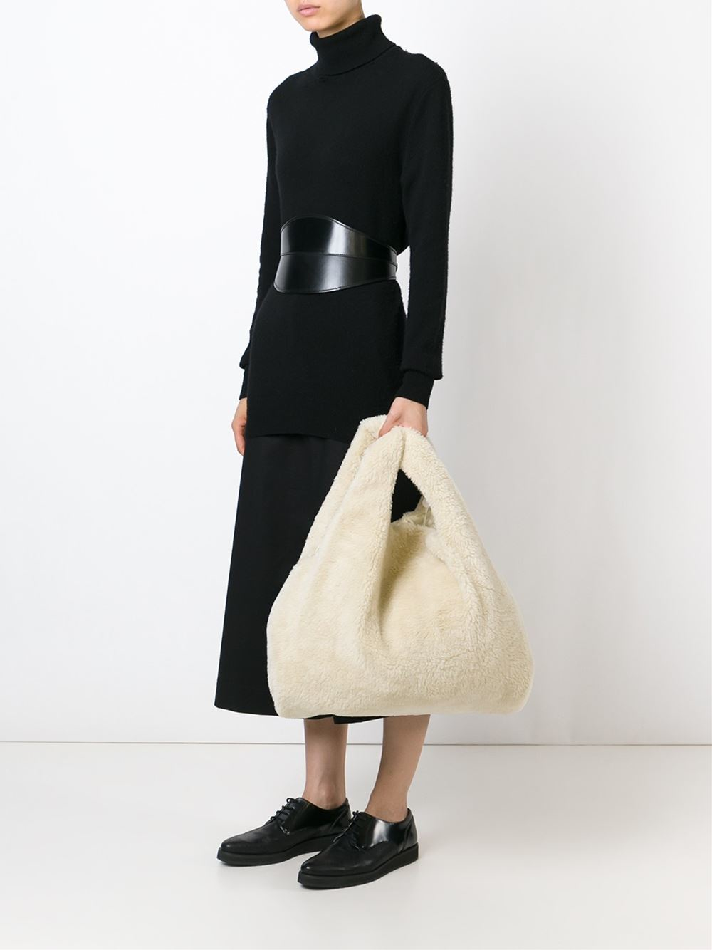 Mm6 by maison martin margiela faux shearling shopper tote for Mm6 maison margiela