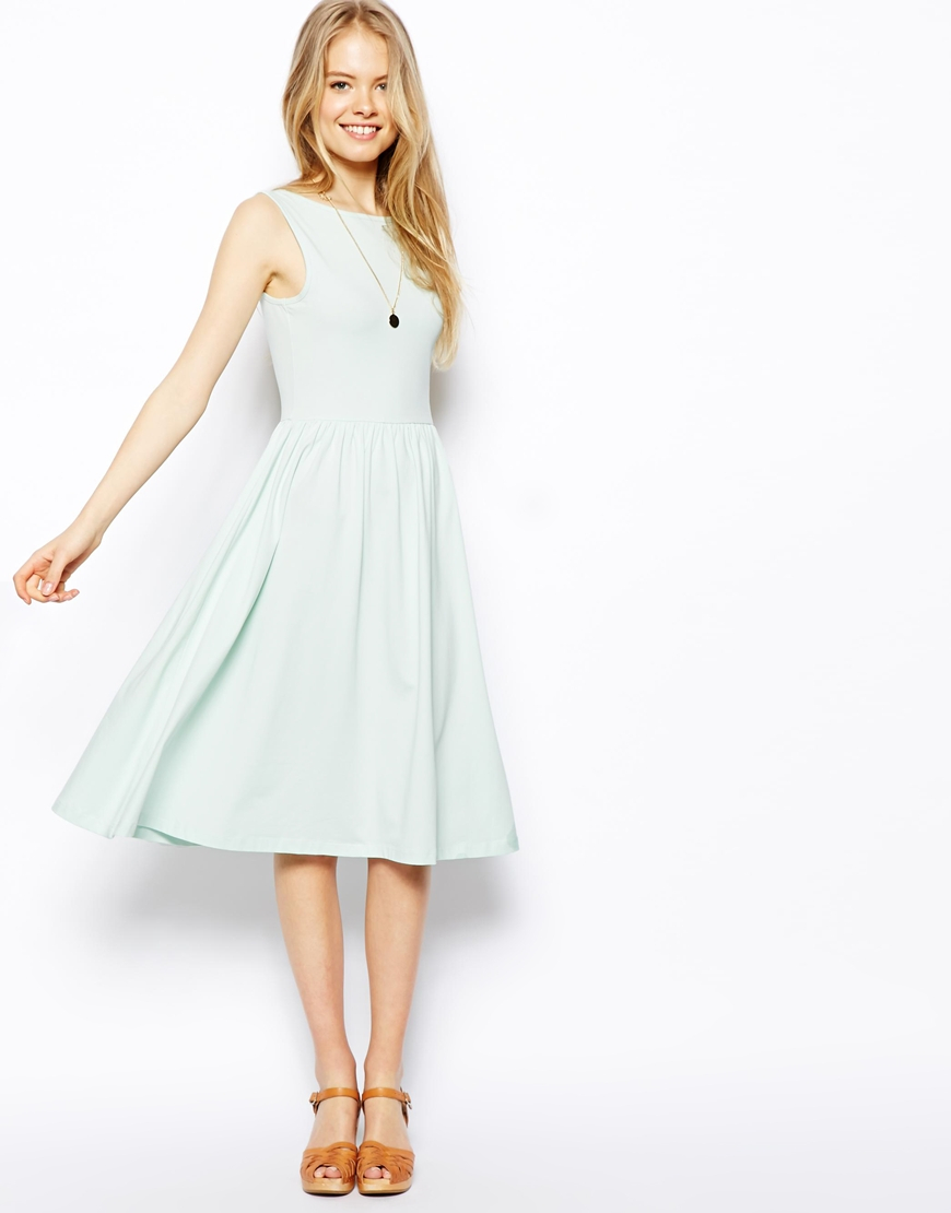 b4ccfb2eb75 ASOS Midi Fit And Flare Dress With Scoop Back in Green - Lyst