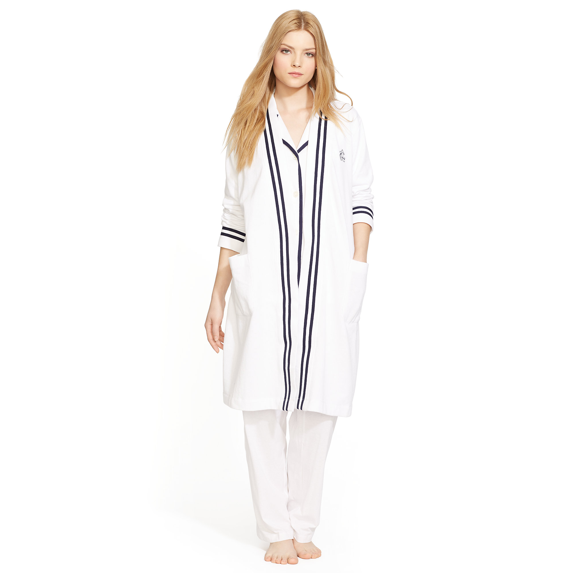 ralph lauren terry lined robe in white lyst. Black Bedroom Furniture Sets. Home Design Ideas