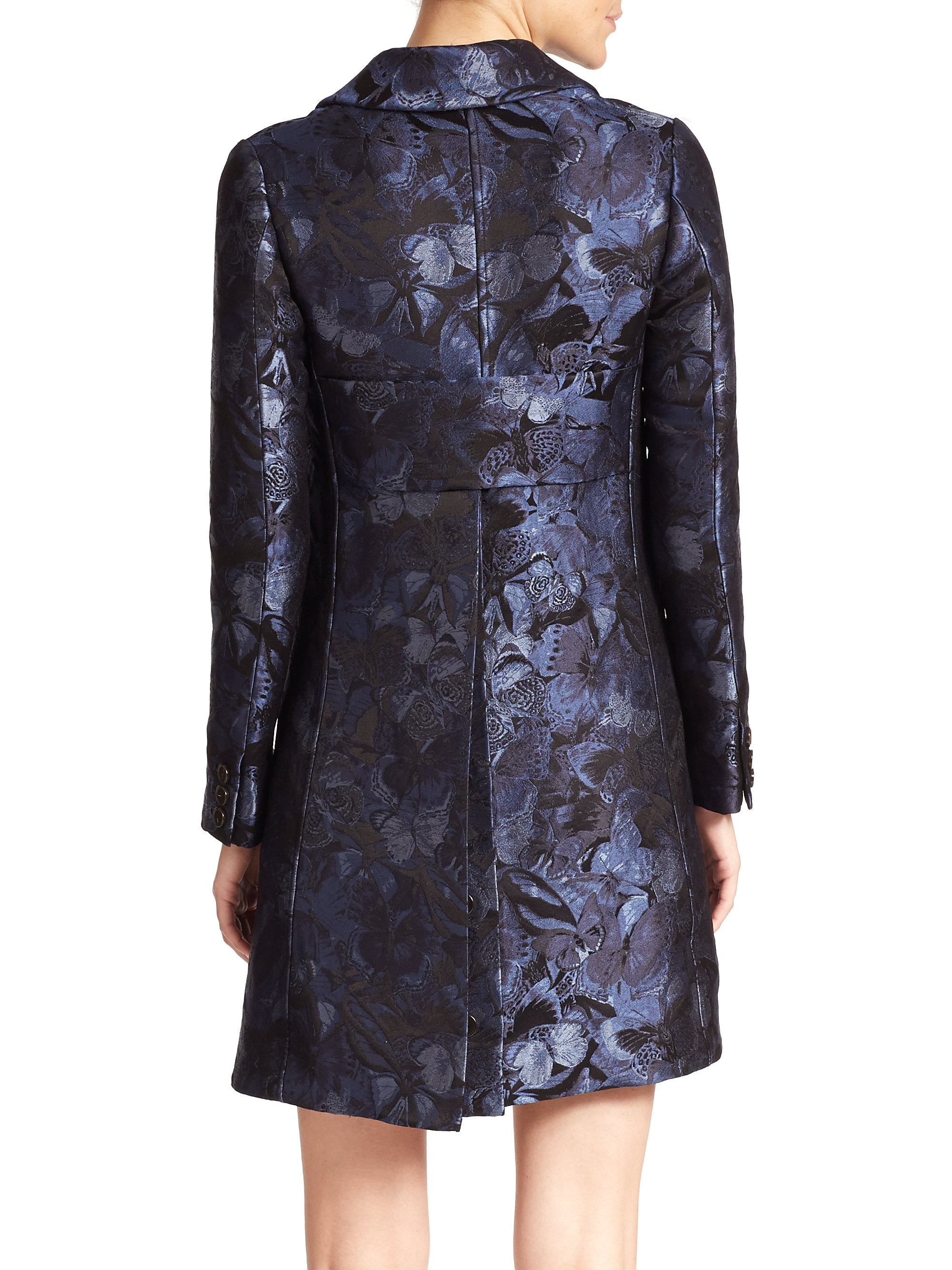 Lyst Valentino Butterfly Print Silk Brocade Jacket In Blue