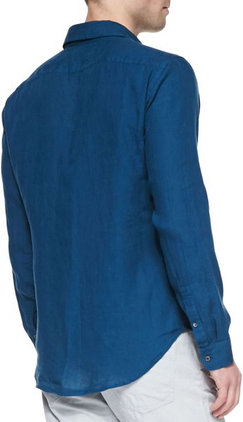 Theory gerald linen buttondown shirt teal in blue for men for Mens teal button down shirt