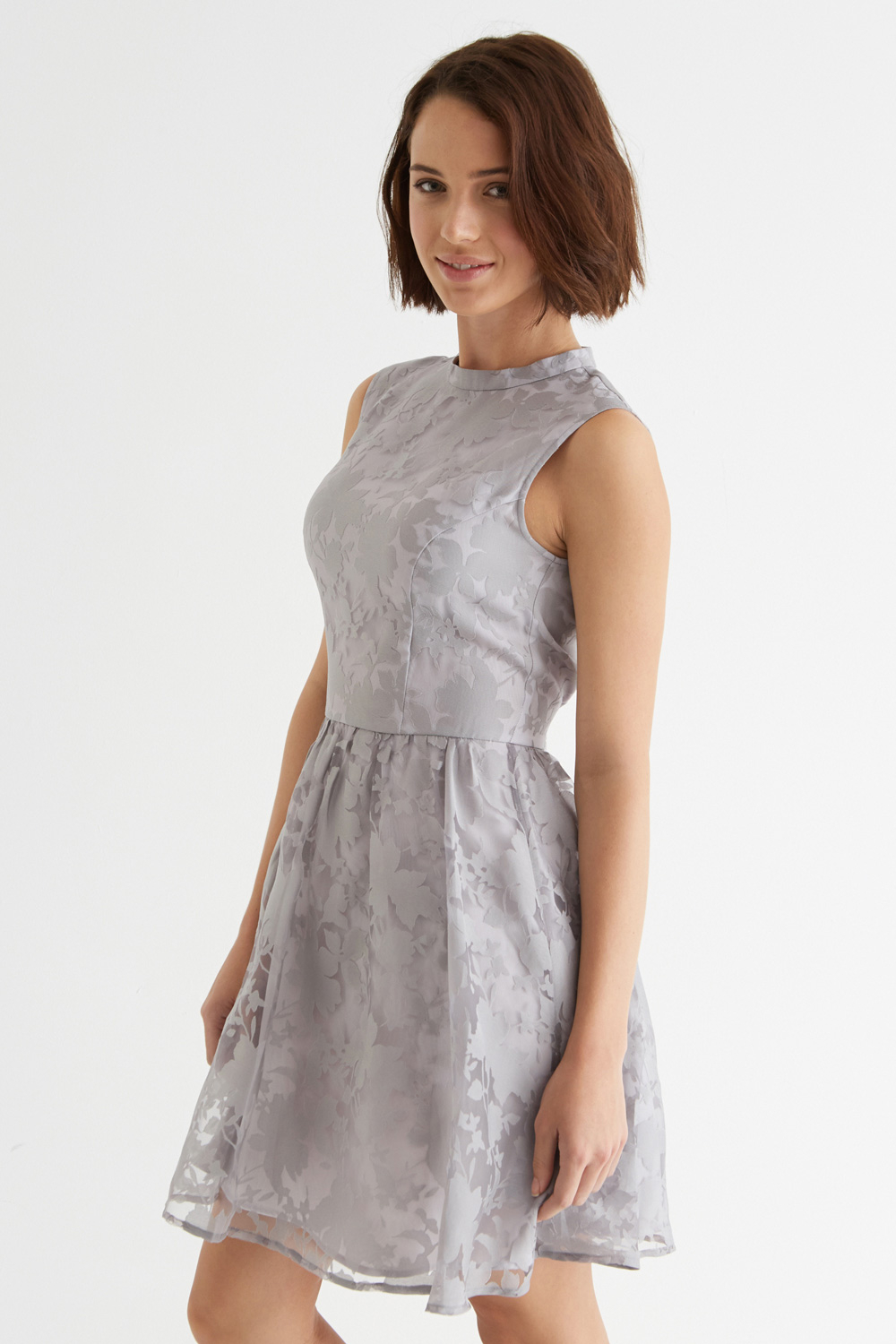 Oasis Organza Skater Dress In Gray Lyst