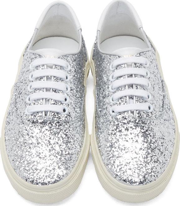 6ae243eb3874 Saint Laurent Silver Glitter Sneakers in Metallic - Lyst