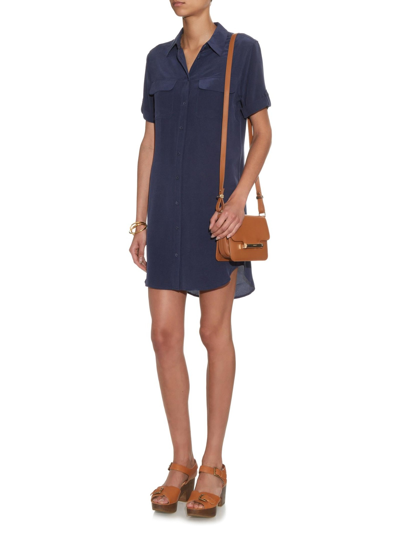 Lyst Equipment Signature Silk Shirt Dress In Blue