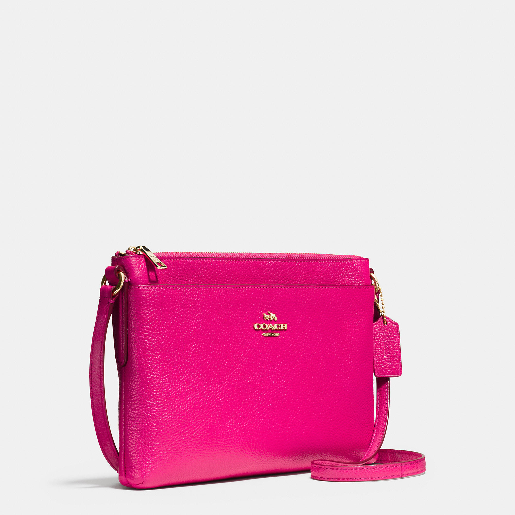 lyst coach journal crossbody in pebble leather in pink rh lyst com