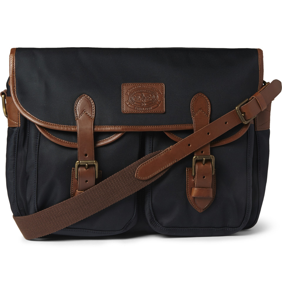 c53e8ef41379 ... new arrivals lyst polo ralph lauren leather trimmed canvas messenger bag  in 3bdc8 ca996