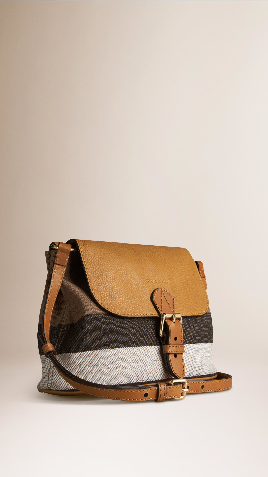e301c5b610a Lyst - Burberry Small Canvas Check And Leather Crossbody Bag in Brown