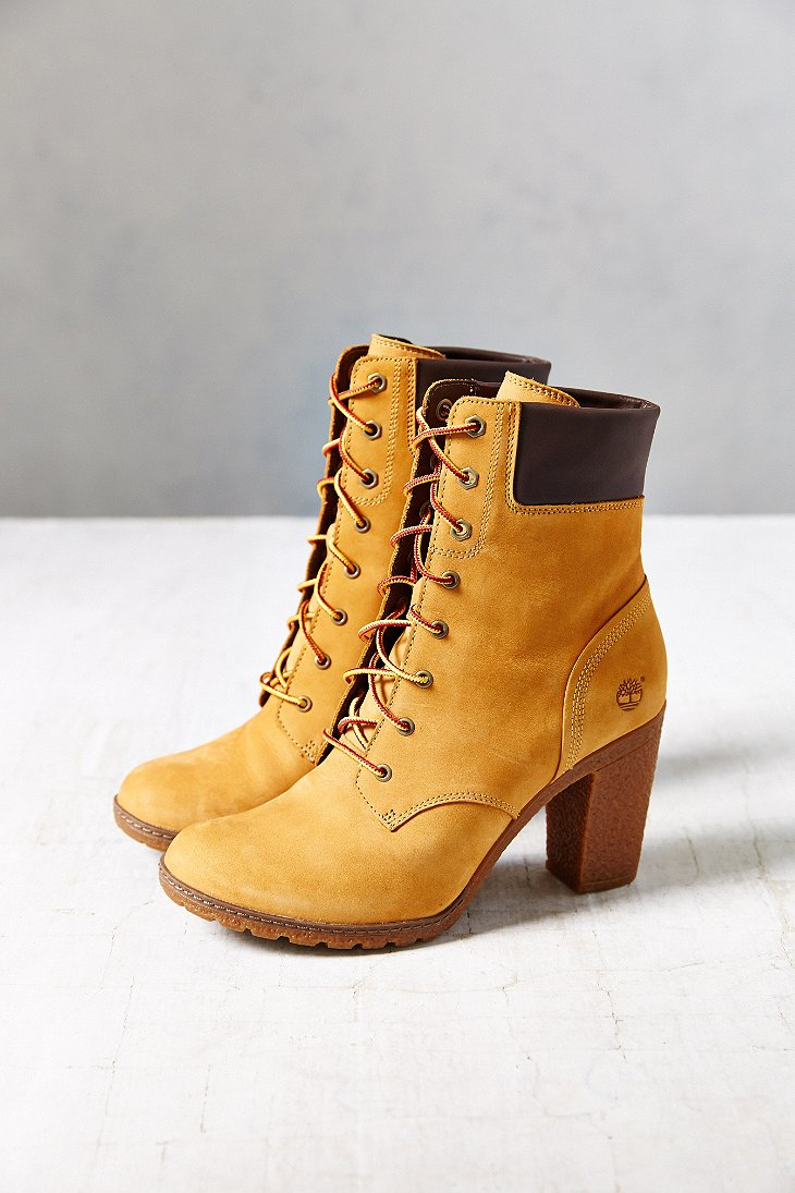 timberland glancy wheat heeled boot in brown lyst. Black Bedroom Furniture Sets. Home Design Ideas