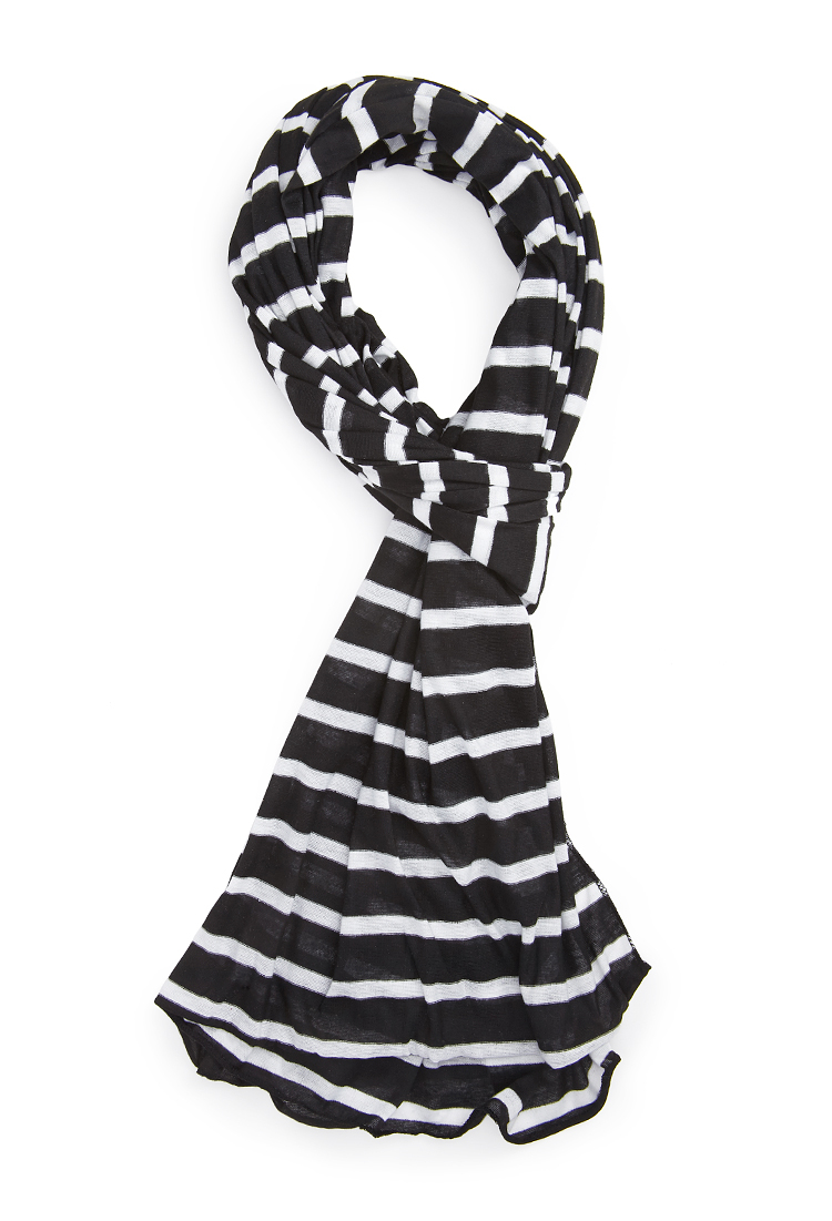 forever 21 striped scarf in white lyst
