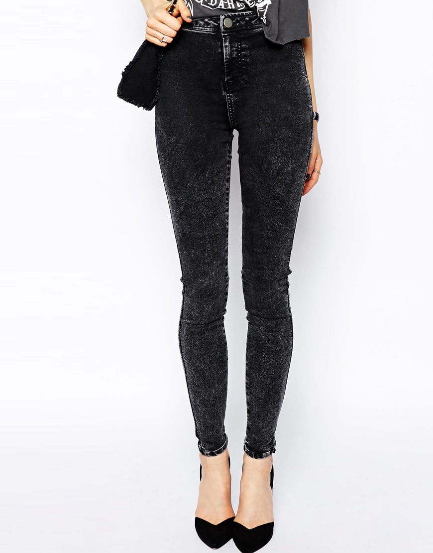 Asos Rivington High Waist Denim Jeggings In Black Acid Wash in ...