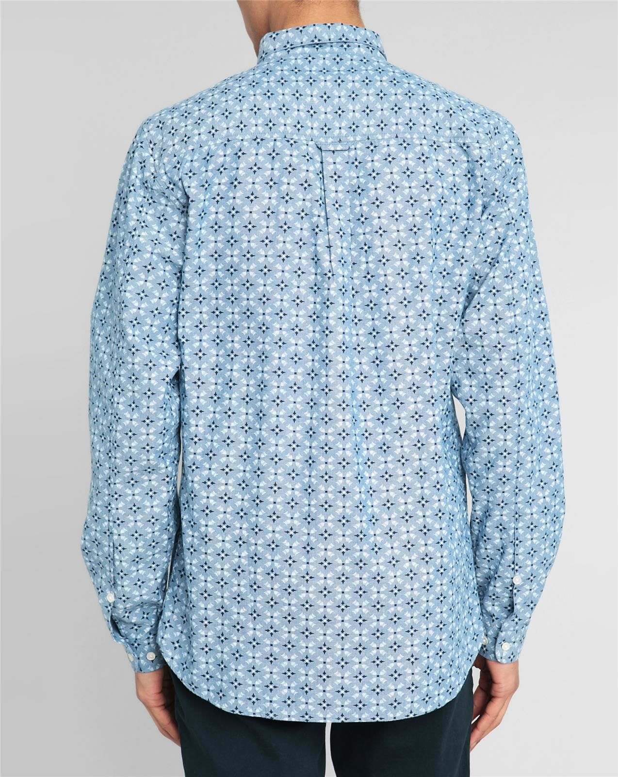 knowledge cotton apparel diamond pattern chambray shirt in blue for men lyst. Black Bedroom Furniture Sets. Home Design Ideas