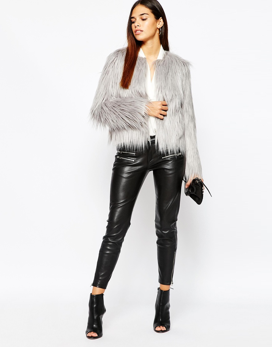Warehouse Faux Fur Coat in Gray | Lyst