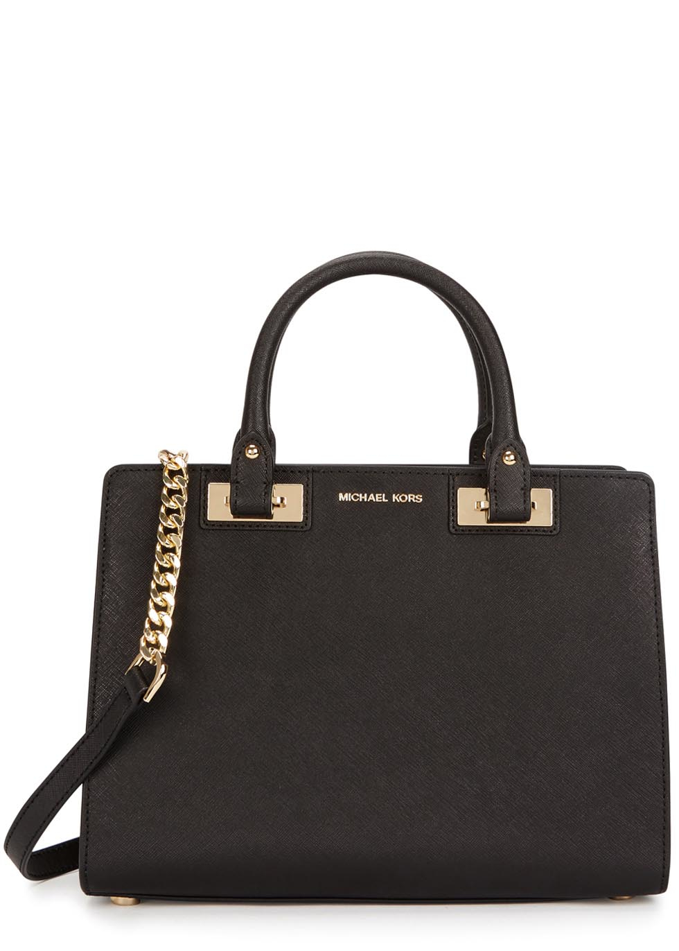 1811ed06b952 ... new style lyst michael kors quinn medium leather shoulder bag in met  08c18 1b892