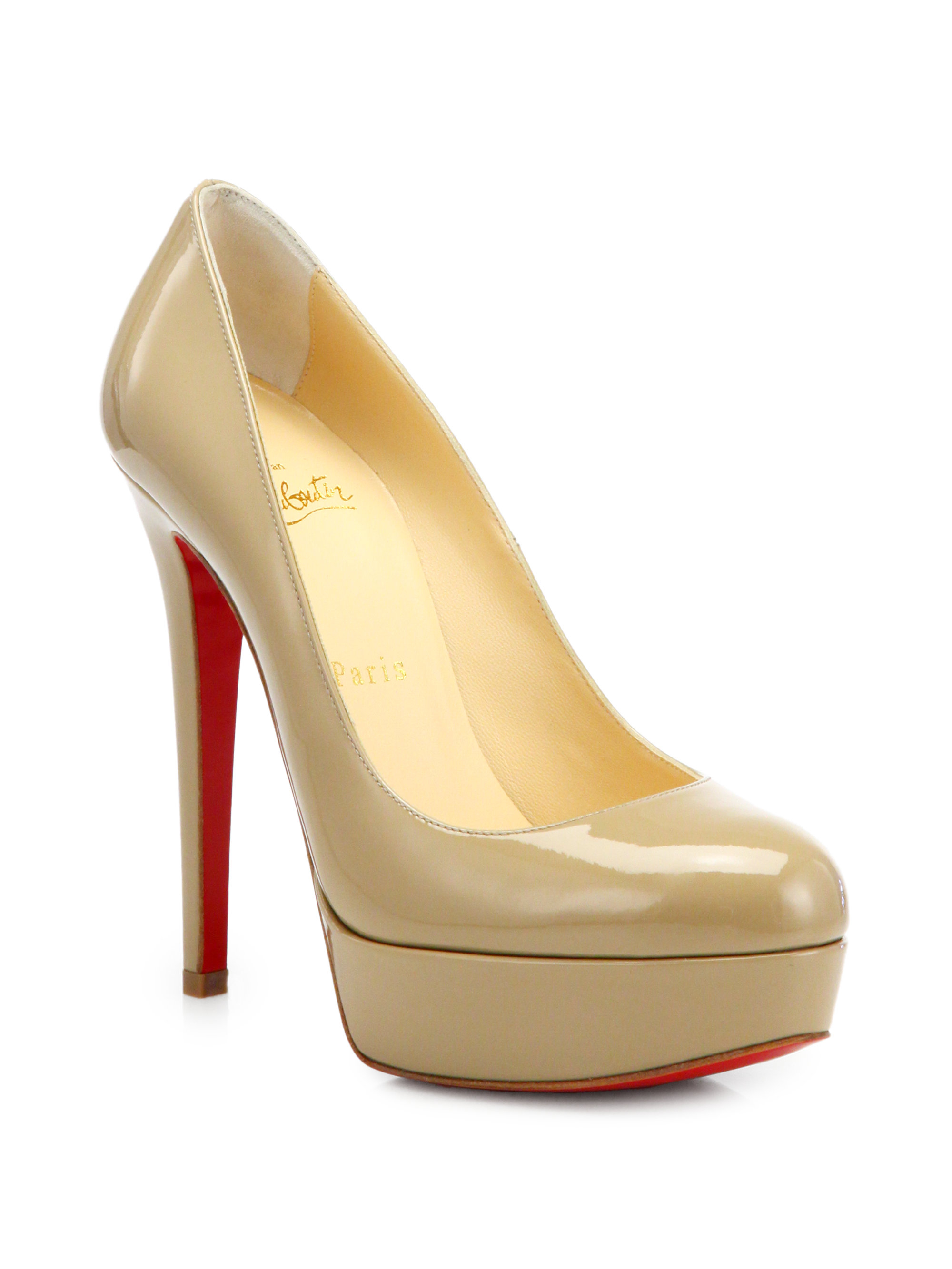 christian louboutin round-toe platform pumps Beige patent leather ...