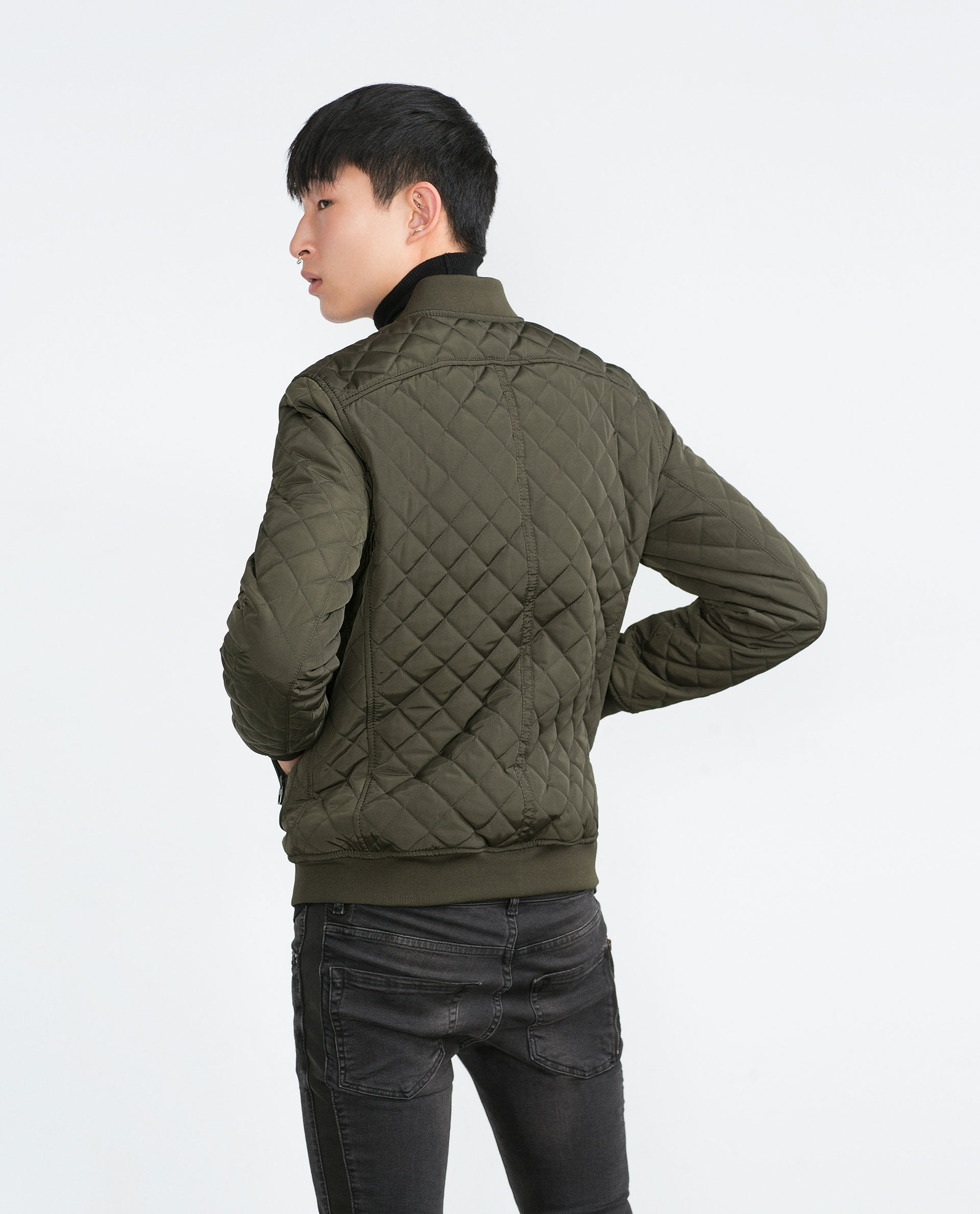 Zara Quilted Bomber Jacket in Natural for Men | Lyst