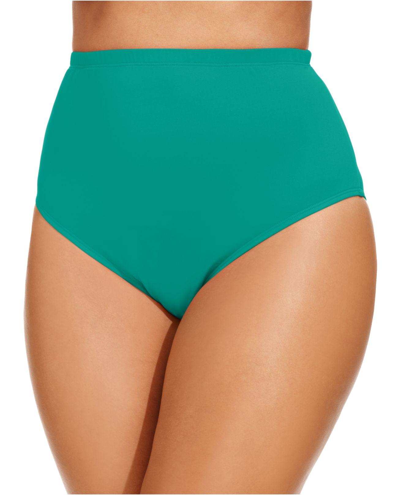 2b0656eeff38e Lyst - La Blanca Plus Size High-Waist Swim Brief Bottom in Green