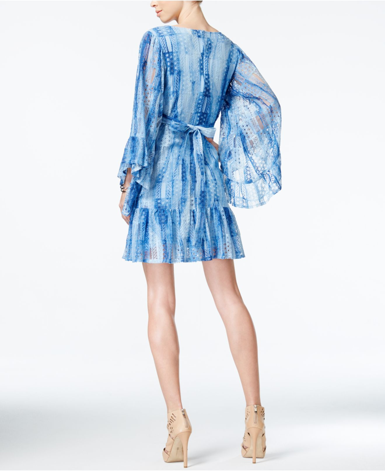 Lyst - Betsey Johnson Printed Empire-waist Lace Dress in Blue