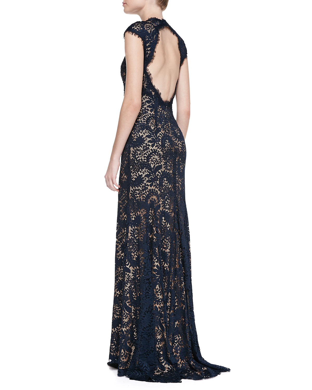 Lyst - Jovani Beaded Lace Gown in Black