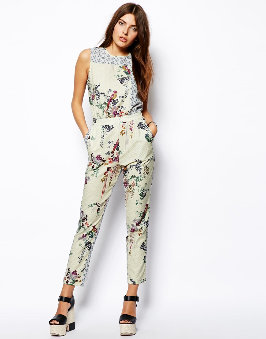 0e8f876075 Lyst - ASOS Bird And Floral Patchwork Jumpsuit