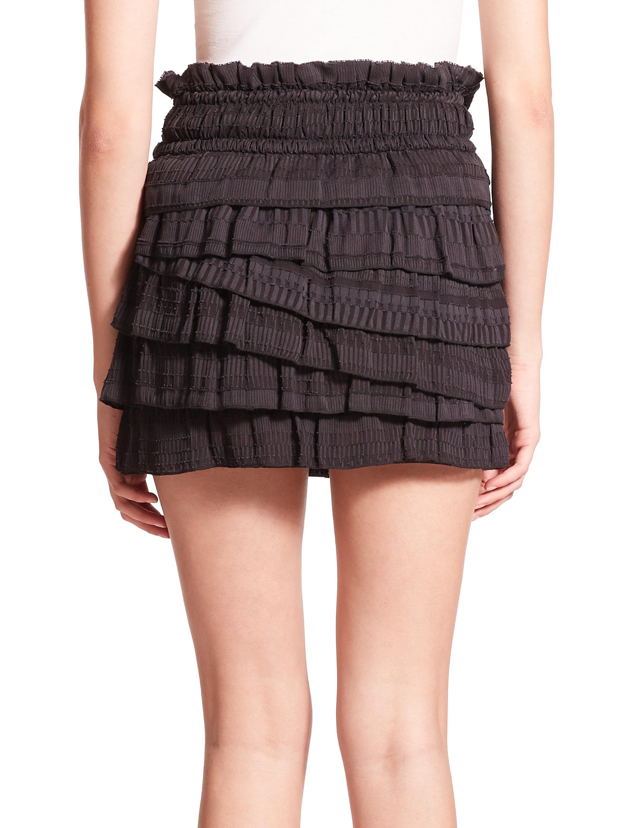 7fbabe1d875bc IRO Delia Tiered Ruffle Mini Skirt in Black - Lyst