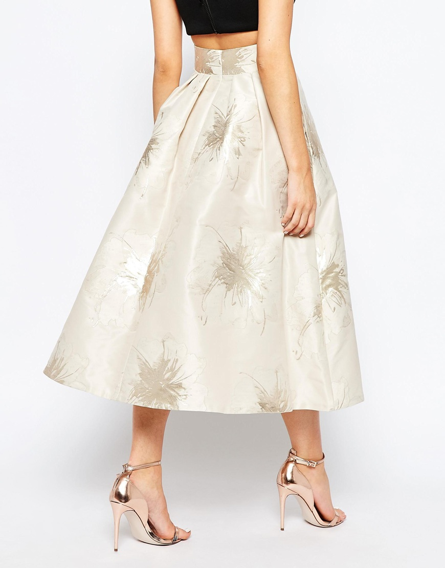 coast lyra midi skirt in foil jacquard in metallic lyst
