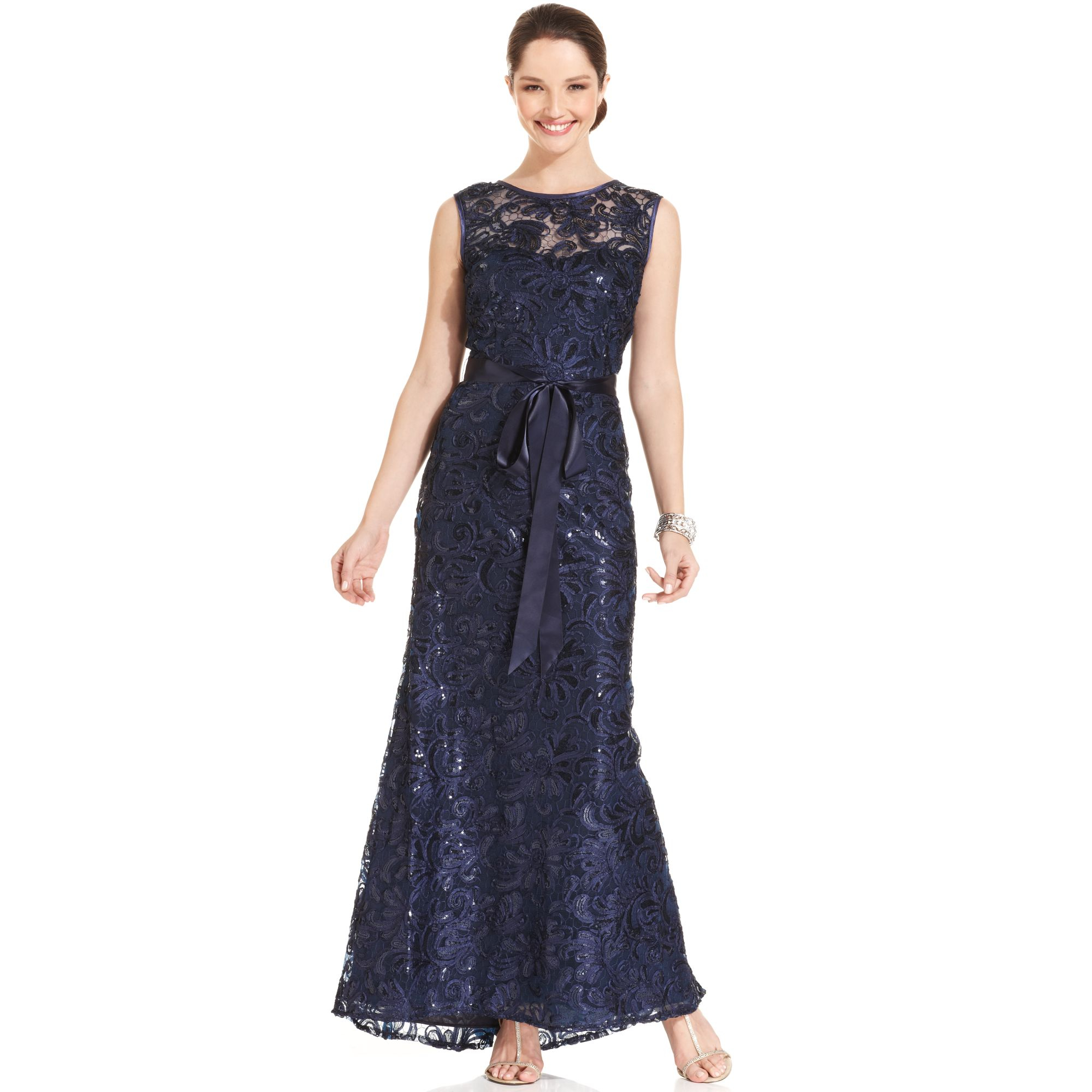 betsy amp adam sleeveless sequin mermaid gown in blue navy