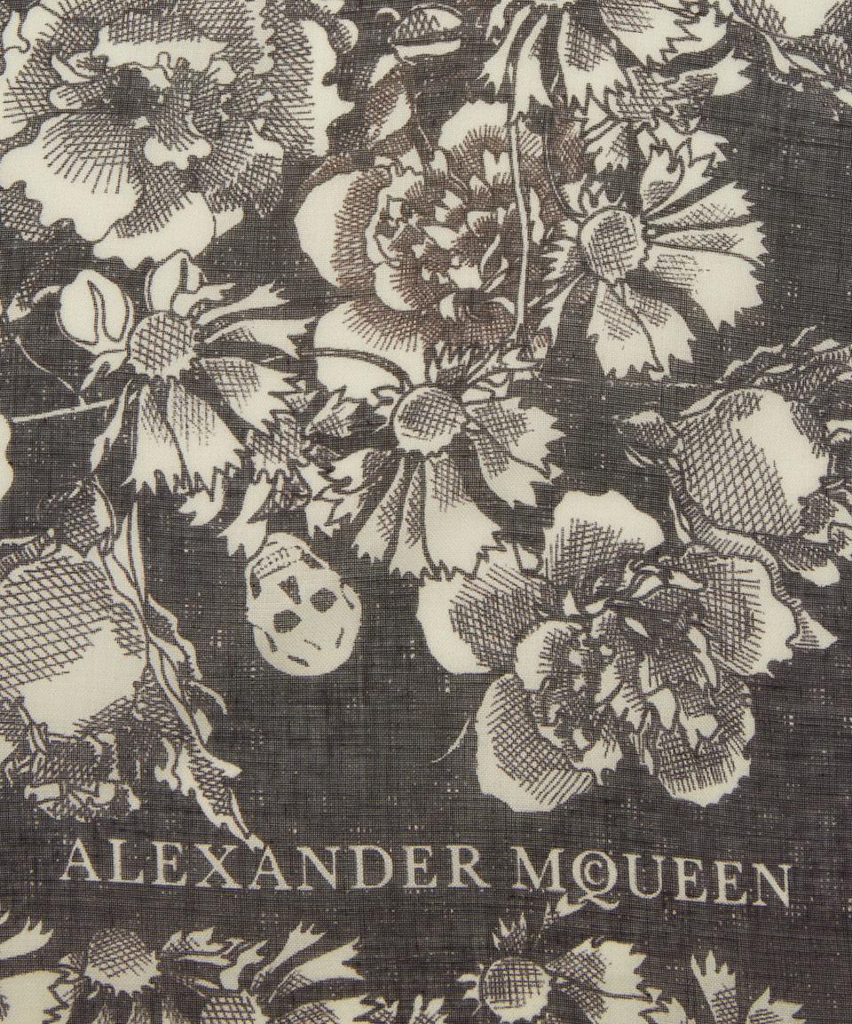 Alexander mcqueen Black And White Floral Eaten Logo Silk-blend ...