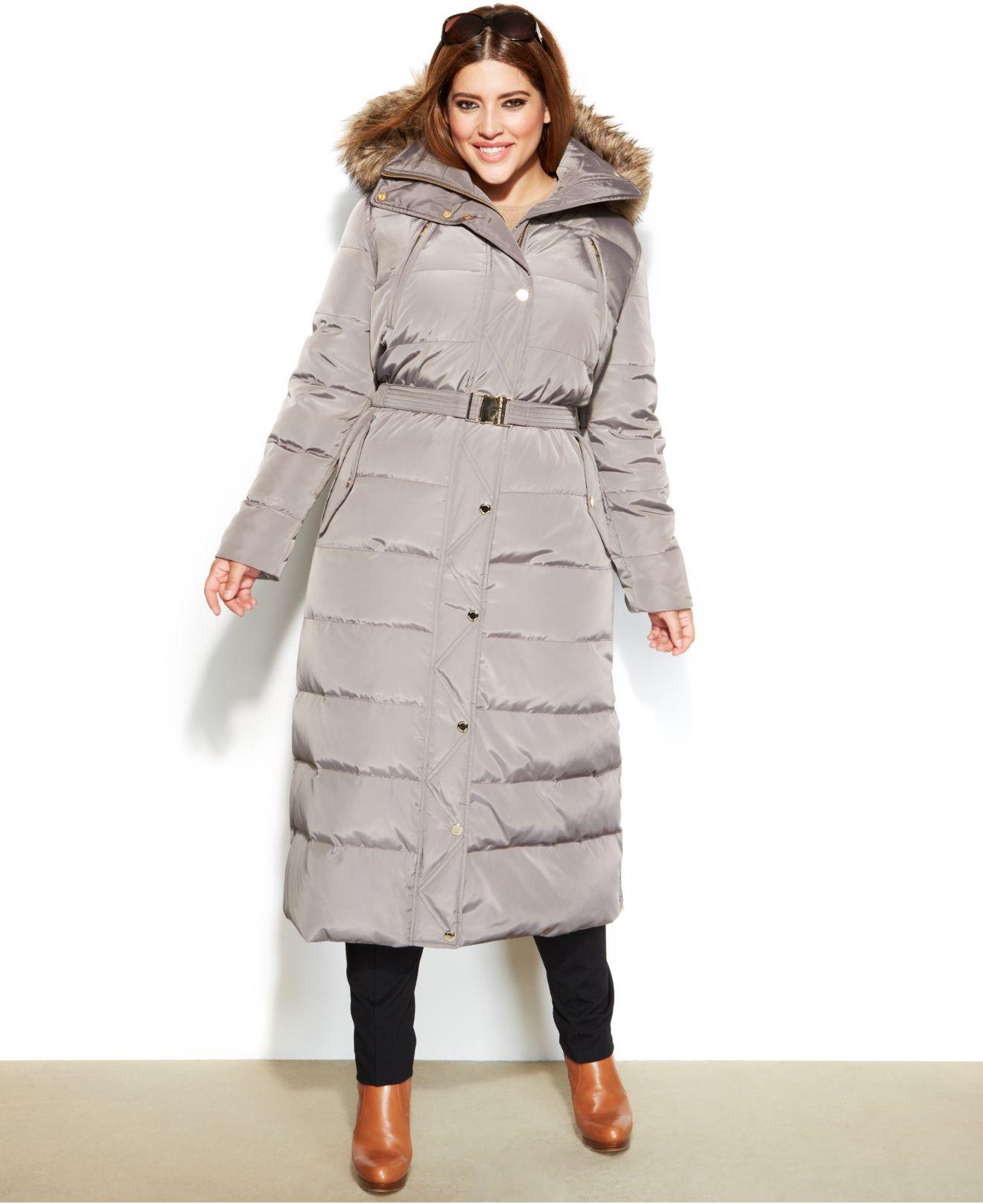 d68a18d46b9e2 Lyst - Michael Kors Michael Plus Size Hooded Faux-Fur-Trim Belted ...