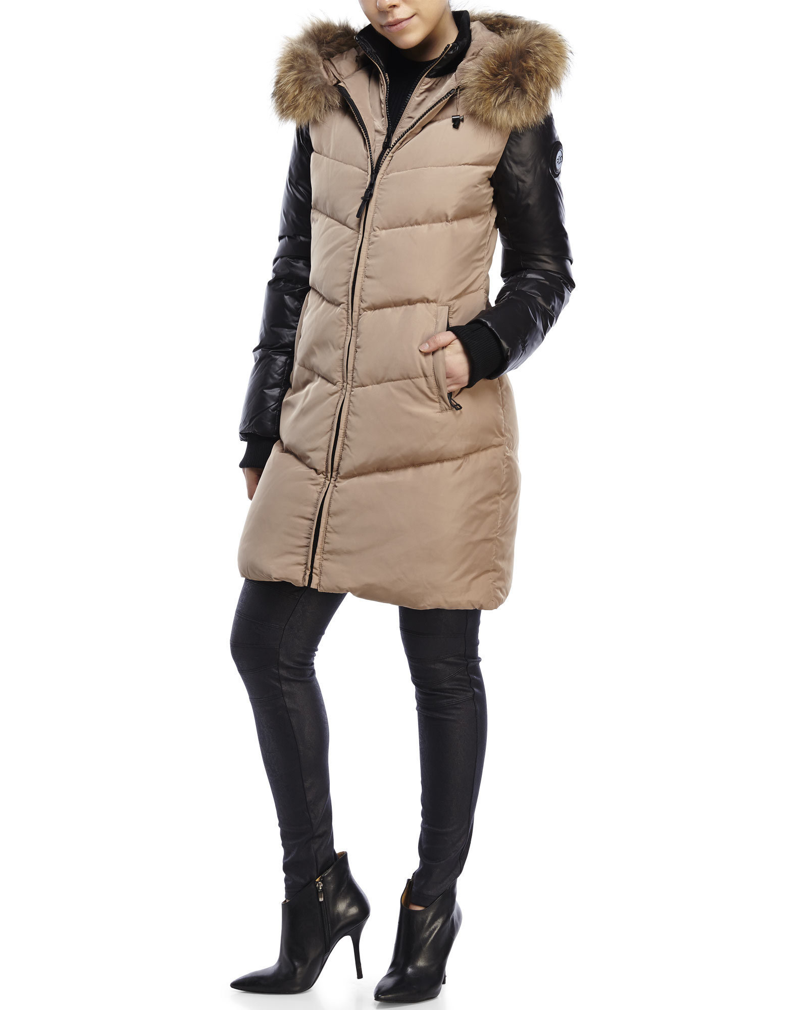 Rud styled by rudsak Mya Real Fur Trim Hooded Down Coat in