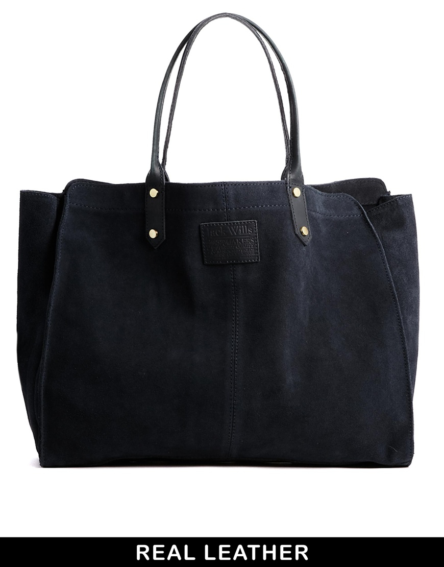 Jack Wills Sueded Tote Bag In Blue Navy Lyst