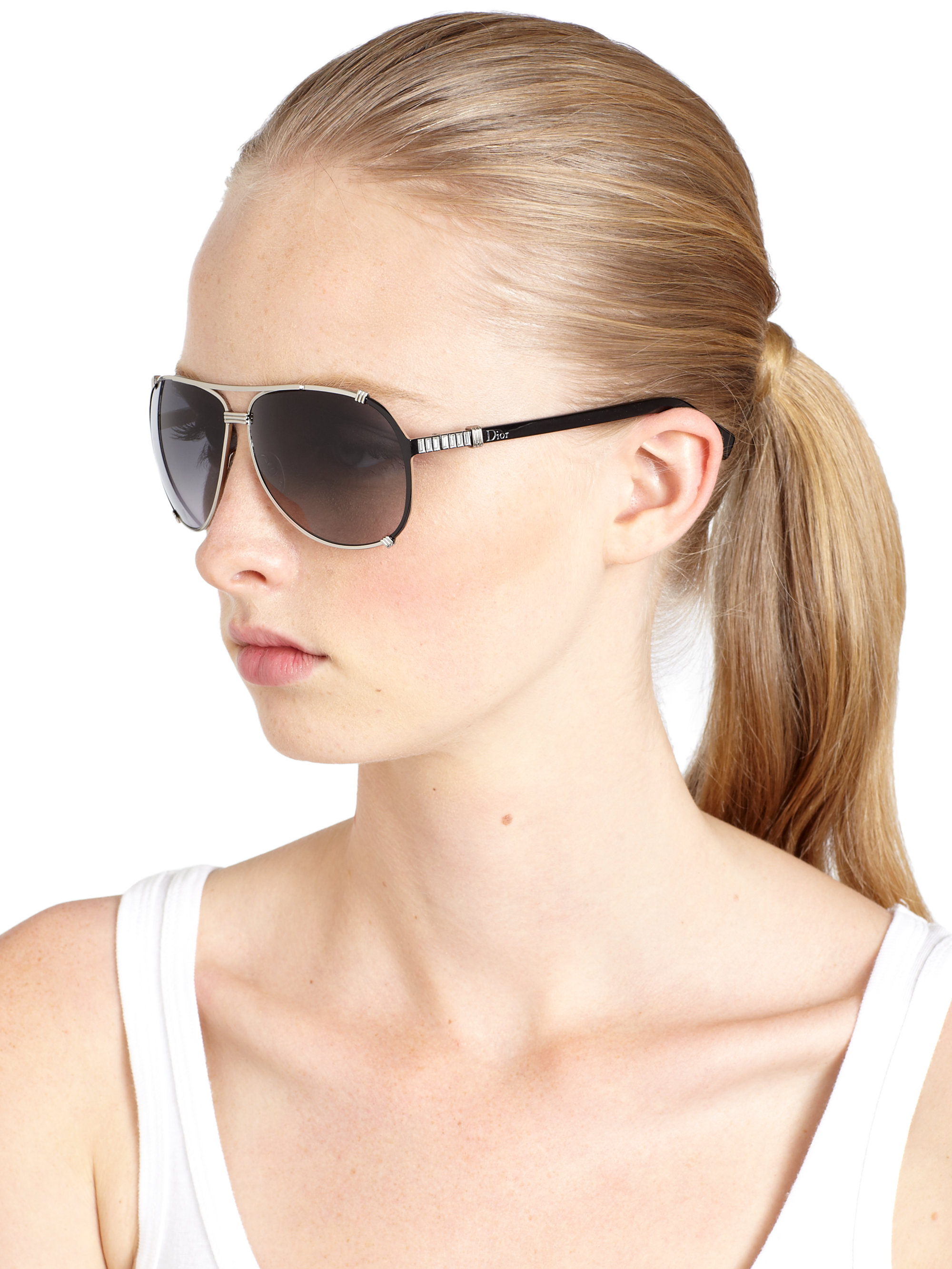 9e5a6a51557 Christian Dior Dior Chicago 2 Str Aviator Sunglasses Silver grey ...