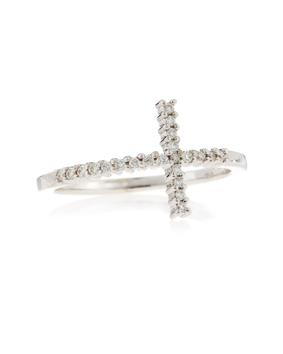 roberto coin white gold cross ring in white lyst